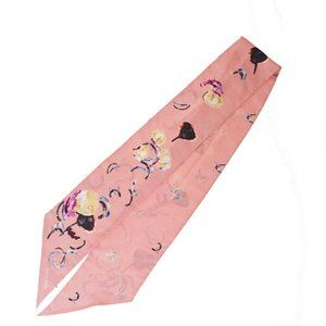 CHANEL CC Long Scarf Handkerchief 100% Silk Pink A